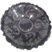 Large Elegant Clear Glass Bowl Etched with Vintage Roses