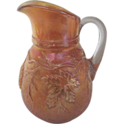 Early Dugan Vineyard Marigold Carnival Glass Water Pitcher