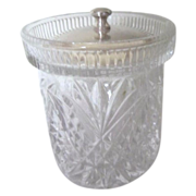 English Crystal Jam or Jelly Jar with Silver Plated Lid