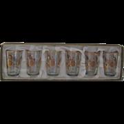 Set of 6 Gold Trimmed Shot Glasses in Original Box