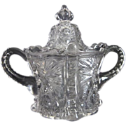 Large Clear Pressed Glass Lidded Sugar Bowl