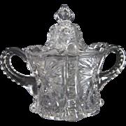Large Clear Pressed Glass Lidded Sugar Bowl