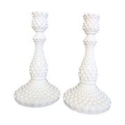 "Pair of Tall 9"" Hobnail Milk Glass Candle Holders by Fenton"
