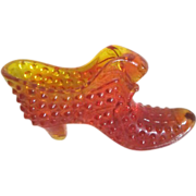 Fenton Hobnail Amberina Lady's Fancy Slipper