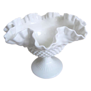 Hobnail Milk Glass Ruffled Edge Bowl