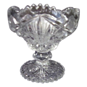 """4 1/2"""" High Clear Pressed Glass Compote"""
