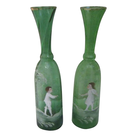"""Mary Gregory"" Pair of Green Vases"