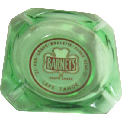 Barney 39 s south shore lake tahoe green glass ashtray from for Lake tahoe jewelry stores