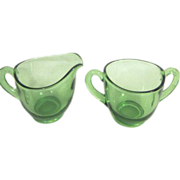 Small Clear Green Glass Cream & Sugar Set
