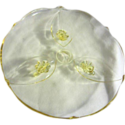 "Indiana Glass Elegant Glass Footed Baroque 10"" Yellow Cake Plate"