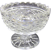Heavy Cut Crystal Clear Footed Small Compote