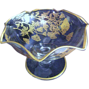 Footed Crystal Candy Dish with Gold Decoration of Poppies