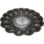 Thousand Eyes Deviled Egg Plate/Platter by Indiana Glass c1970's