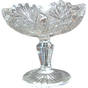 Crystal Cut Footed Candy Dish/Compote