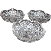 Set of 3  Cut Crystal Berry Bowls