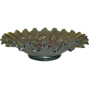 "Iridescent Carnival Glass Bowl by Northwood, ""Three Fruits"" with Ruffled Edges in a Blue/Green"