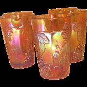 Set of 5 Marigold Carnival Glass Grape & Leaf Pattern Juice Glasses