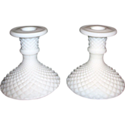 Pair of Milk Glass Diamond Point Candle Holders