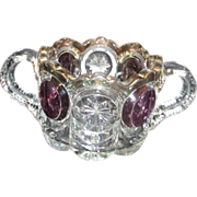 Two Handled Pressed Glass Sugar Bowl with Gold Trim and Purple Medallions