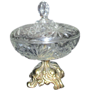 Lidded Pressed Glass Candy Dish with Metal Foot
