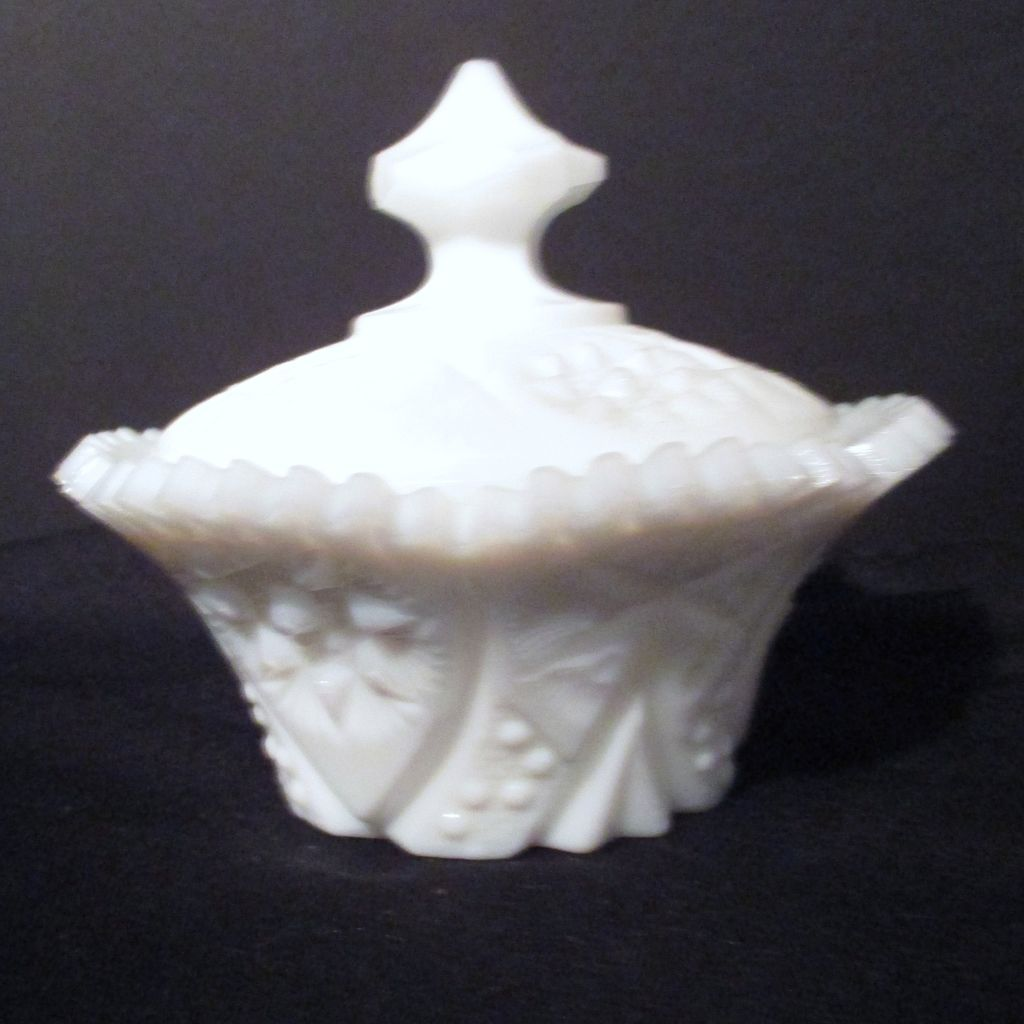 Small Covered Milk Glass Candy Dish from ...