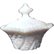 Small Covered Milk Glass Candy Dish