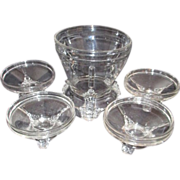 Clear Glass Tri-Footed Berry Bowl with 4 Matching Individual Servers