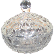 American Pattern Clear Glass Lidded Bowl