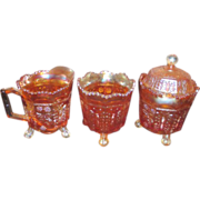 3 Piece Fenton Butterfly and Berry Marigold Carnival Glass
