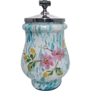 Flowered Art Glass Container with Silver Plated Lid