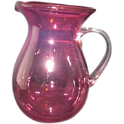 Cranberry Glass Water Pitcher Clear Handle