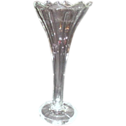 Heavy Clear Glass Vase with Frosted Edging