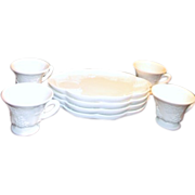 8 Piece Milk Glass Hostess Set Snack Tray and Cup by Colony