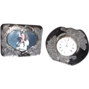 Set of Glass Picture Frame and Clock with Frosted Roses