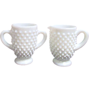 Fenton Hob Nail Milk Glass Cream and Sugar