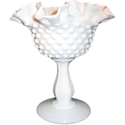Fenton Hobnail Milk Glass Footed Compote with Ruffled Rim