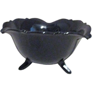 "L. E. Smith Mount Pleasant ""Double Shield""  Black Glass Footed Bowl 1920's-1934"