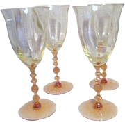 Set of Four Cambridge Yellow Stemware Water Goblets