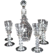 Crystal Cordial Set Decanter with 6 Glasses