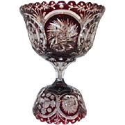 Large Two Piece Footed Bowl Ruby Cut to Clear Crystal
