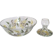 Glass Serving Bowl and Matching Candle Holder with Hand Painted Leaves and Fruit