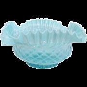 Fenton Pre-Logo Blue Ruffled Basket Weave Bowl