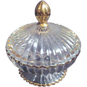Clear Glass Footed Candy Dish with Gold Trimmed Base and Lid