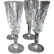 Set of Four Waterford Crystal Champagne Flutes in Lismore Pattern