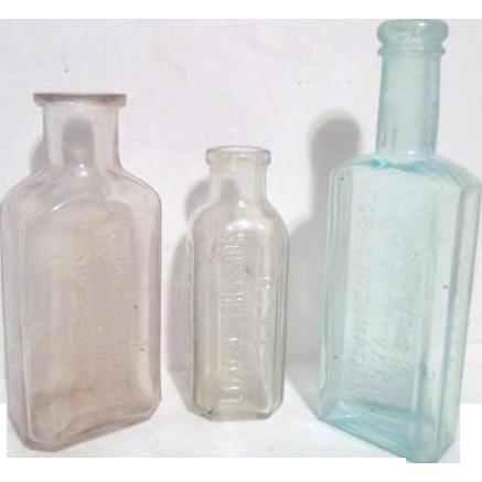 Set Of Three Old Home Use Bottles Something Wonderful