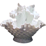 Four Piece Fenton Small Hobnail Milk Glass Epergne