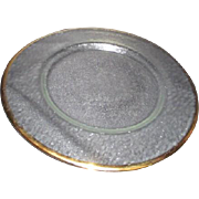 Frosted Serving Plate with Gold Rim