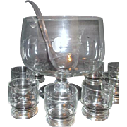 Princess House Heritage Pattern Blown Glass Punch Bowl & 6 Glasses