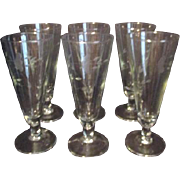 Set of 6 Princess House Heritage Pattern Crystal Pilsner Glasses