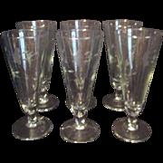 Set of 6 Princess House Heritage Pattern Crystal Pilsner Glasses
